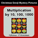Multiplication by 10, 100, 1000 Christmas EMOJI Color-By-Number Mystery Pictures