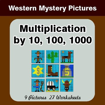 Multiplication by 10, 100, 1000 - Color-By-Number Math Mystery Pictures