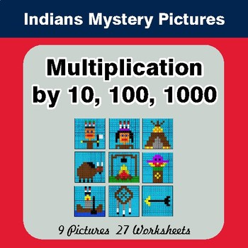Multiplication by 10, 100, 1000 - Color By Number Mystery Pictures