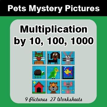 Multiplication by 10, 100, 1000 - Color-By-Number Math Mystery Pictures - Pets Theme