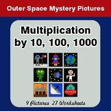Multiplication by 10, 100, 1000 - Color-By-Number Mystery Pictures - Space theme