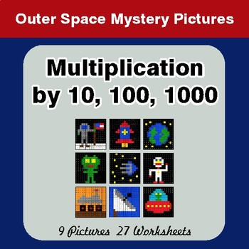 Multiplication by 10, 100, 1000 - Color-By-Number Math Mystery Pictures - Space theme