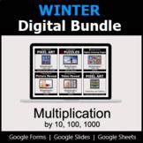 Multiplication by 10, 100, 1000 - Digital Winter Math Bundle