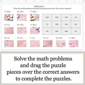 Multiplication by 10, 100, 1000 - Google Slides - Easter Puzzles