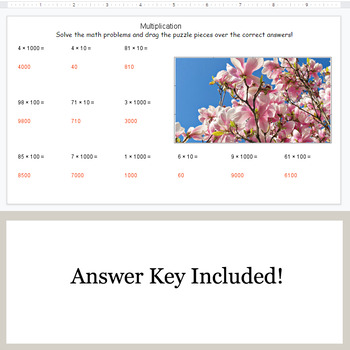 Multiplication by 10, 100, 1000 - Google Slides - Spring Puzzles