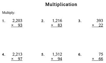 Multiplication by 2-Digit Numbers - Individualized Math - worksheets