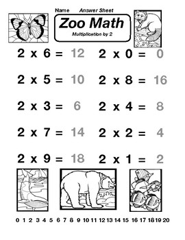 Multiplication by 2 Zoo Math Worksheet