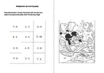 Multiplication by 2 and 5 (puzzles)