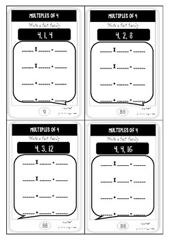 Multiplication by 4 Task Cards Phone themed