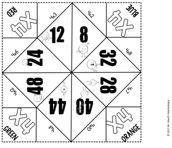 Multiplication by 4's Cootie Catcher/Fortune Teller- Perfect for Fact Fluency