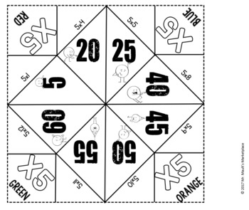 Multiplication by 5's Cootie Catcher/Fortune Teller- Perfect for Fact Fluency