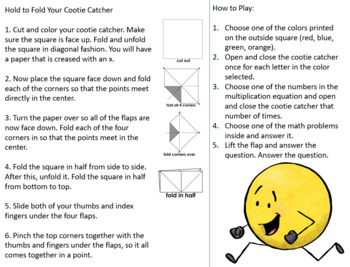 Multiplication by 6's Cootie Catcher/Fortune Teller- Perfect for Fact Fluency