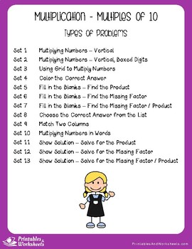 Multiplication by Multiples of 10 - Multiplication Worksheets with Answer Keys