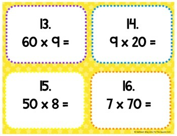 Multiplication by Multiples of 10 Task Cards