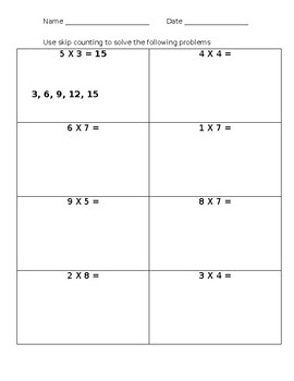 Multiplication by Skip Counting Worksheet