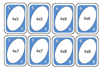 Multiplication card game for four times tables