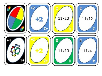 Multiplication cards for eleven times tables