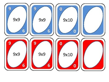 Multiplication cards for nine times tables