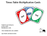 Multiplication cards for six times tables