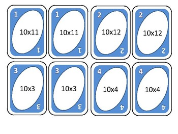 Multiplication cards tor ten times tables