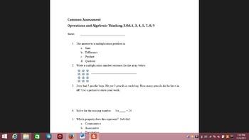 Multiplication common assessment