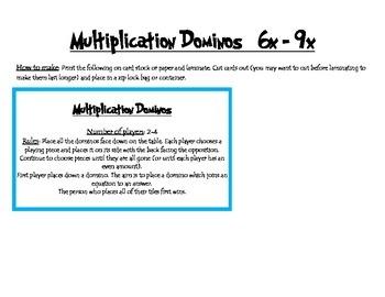 Multiplication dominos - 6x - 9x