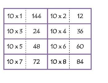 Multiplication dominos - 9x - 12x