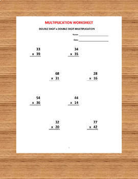 Multiplication double digit (10 Math Worksheets with answers)