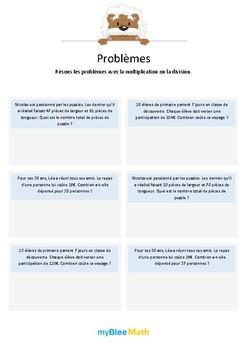 Multiplication et division 2 - Multiplications avec nombres inutiles -CM1