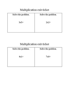 Multiplication exit ticket