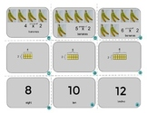 Multiplication fact cards with visuals and arrays (multiples 1-6 up to 12 times)