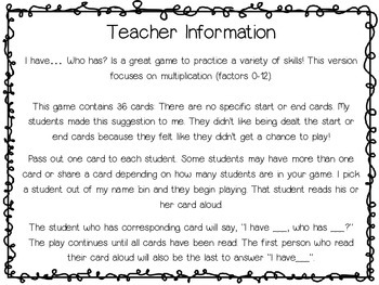 Multiplication (factors 0-12) - I have.. Who has?