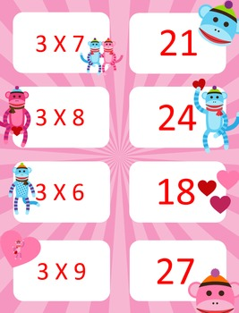 Valentine's Day Multiplication facts (0-3)  Concentration & War Card Games