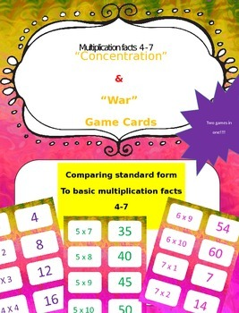 Multiplication facts (4 - 7)  Concentration & War Card Games