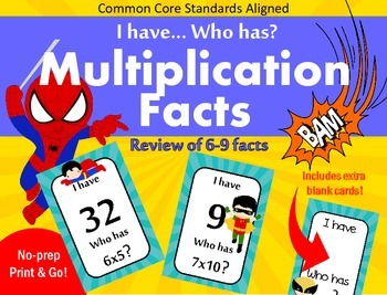 Multiplication facts - I have Who has - 6-9 facts
