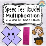 Multiplication facts Speed Test Booklet - 2,5,10