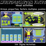 Multiplication facts, arrays, properties, multiples, facto