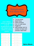 Multiplication facts tracing strips handwriting, math acti