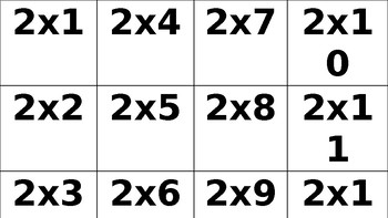 Multiplication flash Cards 1s-12s
