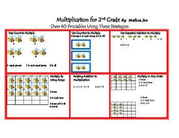 Multiplication 2nd Grade Review Beginning 3rd--Printables