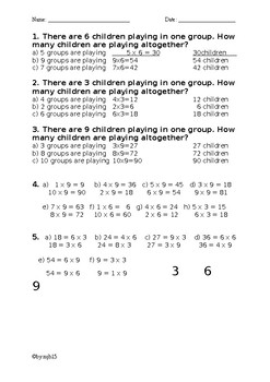 Multiplication for 3, 6, and 9 practice worksheet