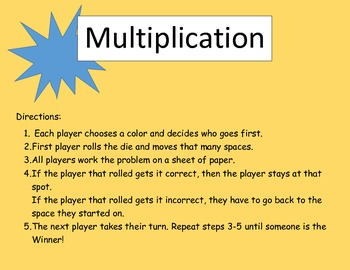 Multiplication game board