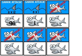 Multiplication game eight times tables- Shark Attack