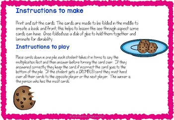 Multiplication game seven times tables- Cookie Crumble
