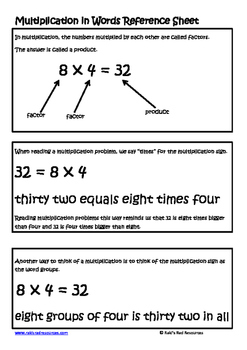 Multiplication in Words Lesson for Interactive Math Notebooks