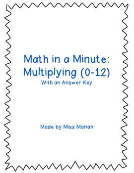 Math in a Minute: Multiplication (0-12) - Pack #1