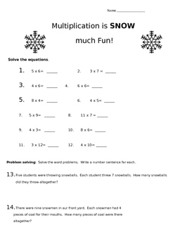 Multiplication is SNOW much fun!