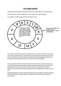 Multiplication maths wheel game