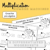 Multiplication number machines - 2 differentiated worksheets