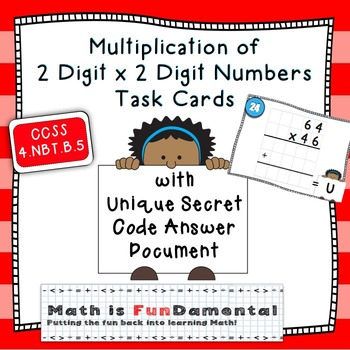 Multiplication of  2 Digit x 2 Digit Numbers Task Cards with Unique Answer Code